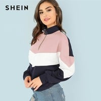 SHEIN Multicolor O-Ring Zip Front Cut and Sew Sweatshirt Athleisure Stand Collar Raglan Sleeve Sweatshirt Women Autumn Pullovers
