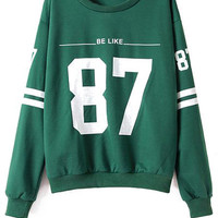 Scoop Collar Number Print Sweatshirt