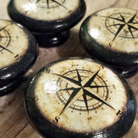 """Handmade Nautical Birch Wood Knob Drawer Pulls, Antique Style Compass Cabinet Pull Handles, 1.5"""" Sea Dresser Knobs, Made To Order"""
