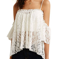 Strap Cold Shoulder Lace Top In White