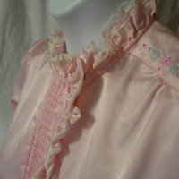 Winter Night Gown, Pink Satin, Brushed Lined, Long, Jodie Arden, Size M Medium, Warm and Cozy, Sleepwear