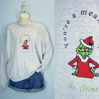 Vintage 80s Ugly Christmas Sweatshirt / Mr Grinch Sweatshirt / L