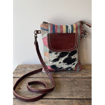 Recycled Rug with Cowhide Crossbody
