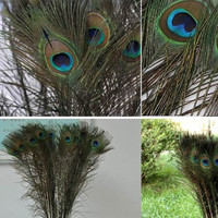 Cool Gifts DIY 10 Peacock Eye Tail Feather For Masquerade Decoration Party = 1929868228