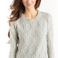 Laura Grey Knit Cable Sweater