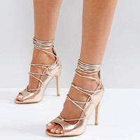 Truffle Collection Tie Up Skinny Heel Sandal at asos.com