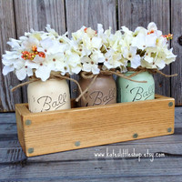Rustic Planter Box with 3 Painted Mason Jars. Mason Jars. Rustic Home Decor. Vintage. Grey. Cream. Peach. Table Centerpiece.