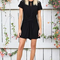 Casual Chic Twisted Front Romper {Black} - Size LARGE