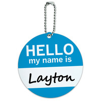 Layton Hello My Name Is Round ID Card Luggage Tag