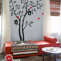 """Baby Nursery Wall Decals - Tree Wall Decal - Birds Decal - Large: approx 82"""" x 55"""" - KC002"""