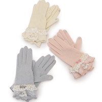 LIZ LISA Pearl & Ribbon Gloves