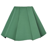 Green Structured Pleats Mini Skirt