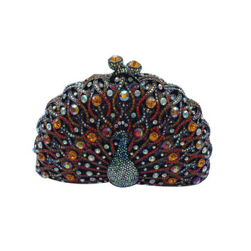 Peacock Clutch Purse Luxury Crystal Evening Clutch Bags