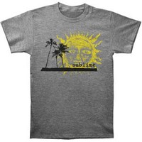 Sublime Men's  Palm Trees With Sun Mens Slim Fit T Slim Fit T-shirt Heather