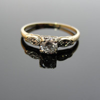 Art Deco Structural Vintage Engagement RIng with VVS clarity Bright Diamond  RGDI211D