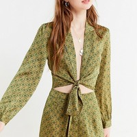 UO Satin Paisley Tie-Front Top   Urban Outfitters