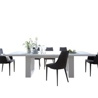 """Tundra 79"""" Extendible Dining Table W/ Extension High Gloss White / High Gloss White"""