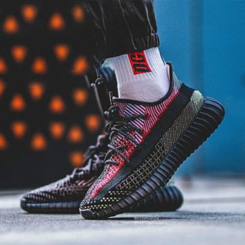 Adidas Yeezy Boost 350 V2 'YECHEIL' black and red stitching men's and women's sneakers shoes