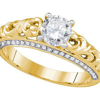 Diamond Bridal Ring with 0.75ctw Center Round Stone in 14k Gold 1 ctw