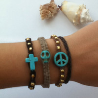 4 Pc. Brandy Melville Cross Skull Peace Macramé by BeachMacrame