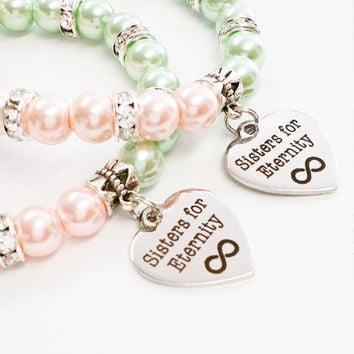 Bff Jewelry | Sisters Jewelry | Sisters for Eternity Jewelry | Big Little Sister Gift | Best Friends Jewelry | Pink and Green Jewelry