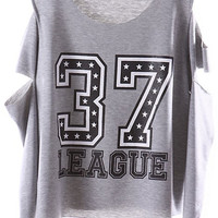 ROMWE   Letter 37 Off-shoulder Grey T-shirt, The Latest Street Fashion