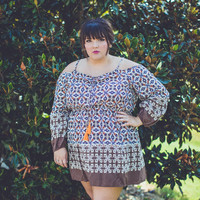 PLUS SIZE: Open-Shoulder Dress in Brown