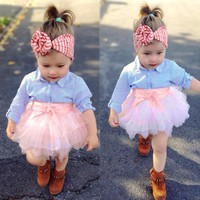 2PCS Toddler Baby Girls Bow Striped Tops Tutu Skirt Set Infant Outfits Clothes