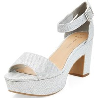 Wide Fit Silver Glitter Chunky Ankle Strap Heels