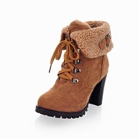 Lace Up Ankle Boots Platform High Heels Women 1746