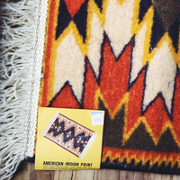 Vintage, Nylon, American, Tribal Print, Waffle Back, New, Deadstock, Woolworth,Trinity Rug, 24 by 42 inch, Throw Rug