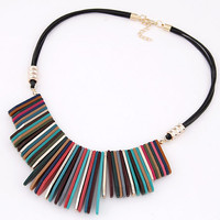 Geometric Flaky Statement Necklace
