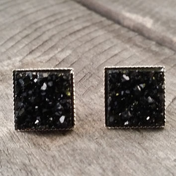 Druzy earrings-  Black chunky square drusy silver tone stud druzy earrings