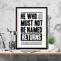 """Wall art decor, Harry Potter typography poster """"He Who Must Not Be Named Returns"""", inspired by Daily Prophet Cover"""