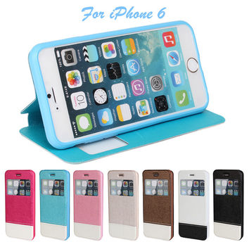 I6 Luxury Smart Front Window View Leather Flip Case For Apple Iphone 6 4.7 Inch Fundas Cover Matte Leather Phone Bag For iPhone6