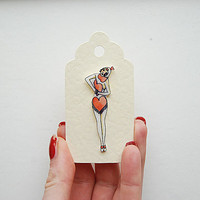 Heart Dancing girl tattoo brooch / hand drawn
