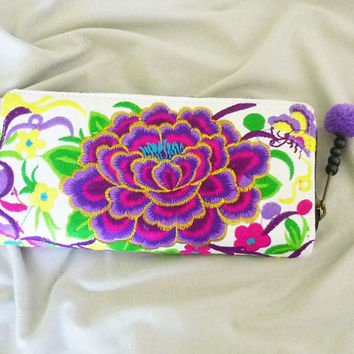 Wallet zip around blue violet peony flower wallet zip /pom pom wallet /Embroidered Wallet /Hmong wallet/ Tribal purse
