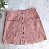 Cotton Candy LA - High Standards Suede Skirt in Mauve/Dusty Pink