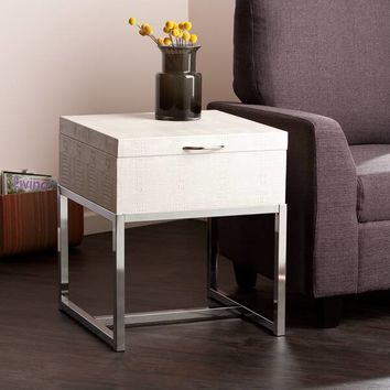 Harper Blvd Mirren Cream Reptile Storage Side/ End Table | Overstock.com Shopping - The Best Deals on Coffee, Sofa & End Tables