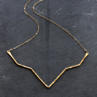 Hammered Brass Geometric Necklace