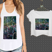cactus garden For Woman Tank Top , Man Tank Top / Crop Shirt, Sexy Shirt,Cropped Shirt,Crop Tshirt Women,Crop Shirt Women S, M, L, XL, 2XL**