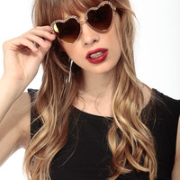 Gold Heart Chain Sunglasses