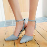 Pointed Toe Ankle Strap High Heels Sandals Stiletto Heel  5265
