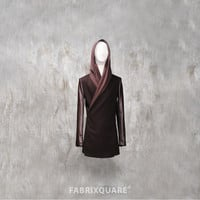 Leather Mix Woolen Coat with Jersey Hood