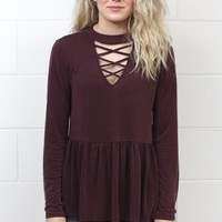 High Strappy Neck Relaxed Peplum Blouse {Burgundy}
