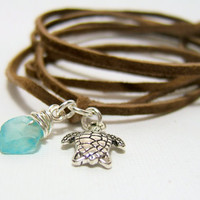 """BROWN Suede Wrap Anklet - Genuine """"Cafe"""" Brown Suede Lace - Silver Sea Turtle Charm - Wire Wrapped Sea Glass ~ Wrap & Tie - Gift under 10"""