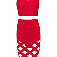 Sexy bandage cut out dress- RED