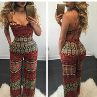Red and White Enthic Print Strapy Jumpsuits