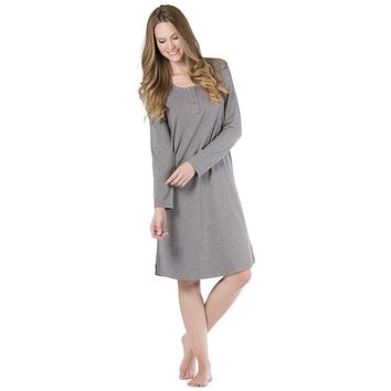 Women's EcoFabric™ & EcoFleece™Below Knee Henley Nightshirt
