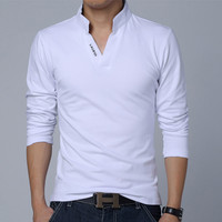 Simple V-neck polo shirt, long-sleeve for men